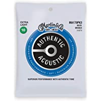 Martin Authentic Acoustic MA170 Extra-Light-Gauge Acoustic Guitar Strings, 80/20 Bronze, 3-Pack