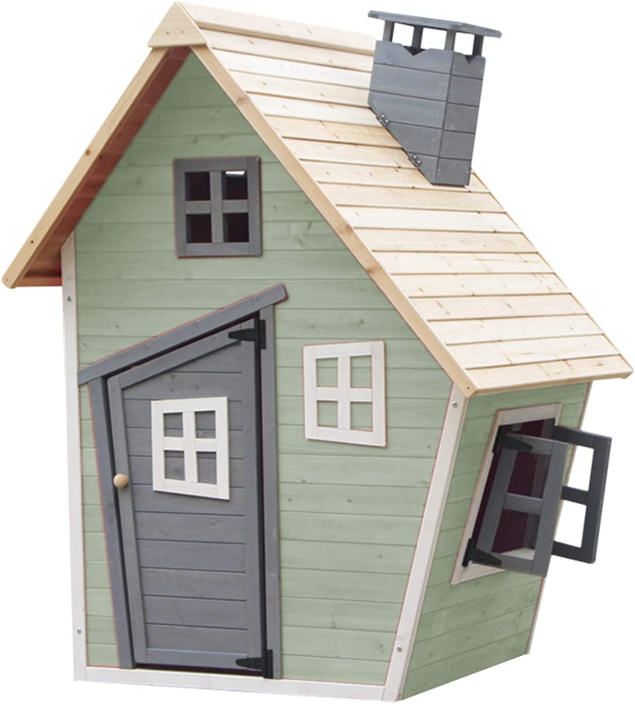 Outdoor Toys. Casita Infantil Fantasy Verde Decorada. Dim: Ext: 120 X 102 X 150 Cm