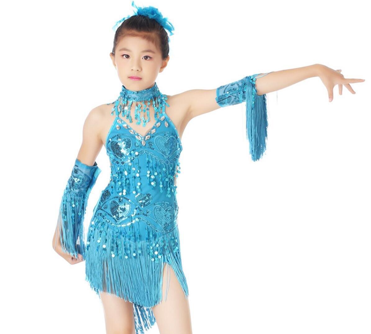 Bleu Costume de Danse de Danse Latine Enfants Robe de Danse Latine Su Liu Jupe de Danse Latine Blanc Jaune   Rose Rouge Rouge   Bleu 3XL