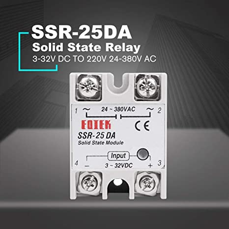 Halbleiterrelais SSR-25DA 25A Modul 3-32V bis 24-380V AC SSR 25DA Halbleiterrelais Kunststoff-Abdeckung Fall wei/ß