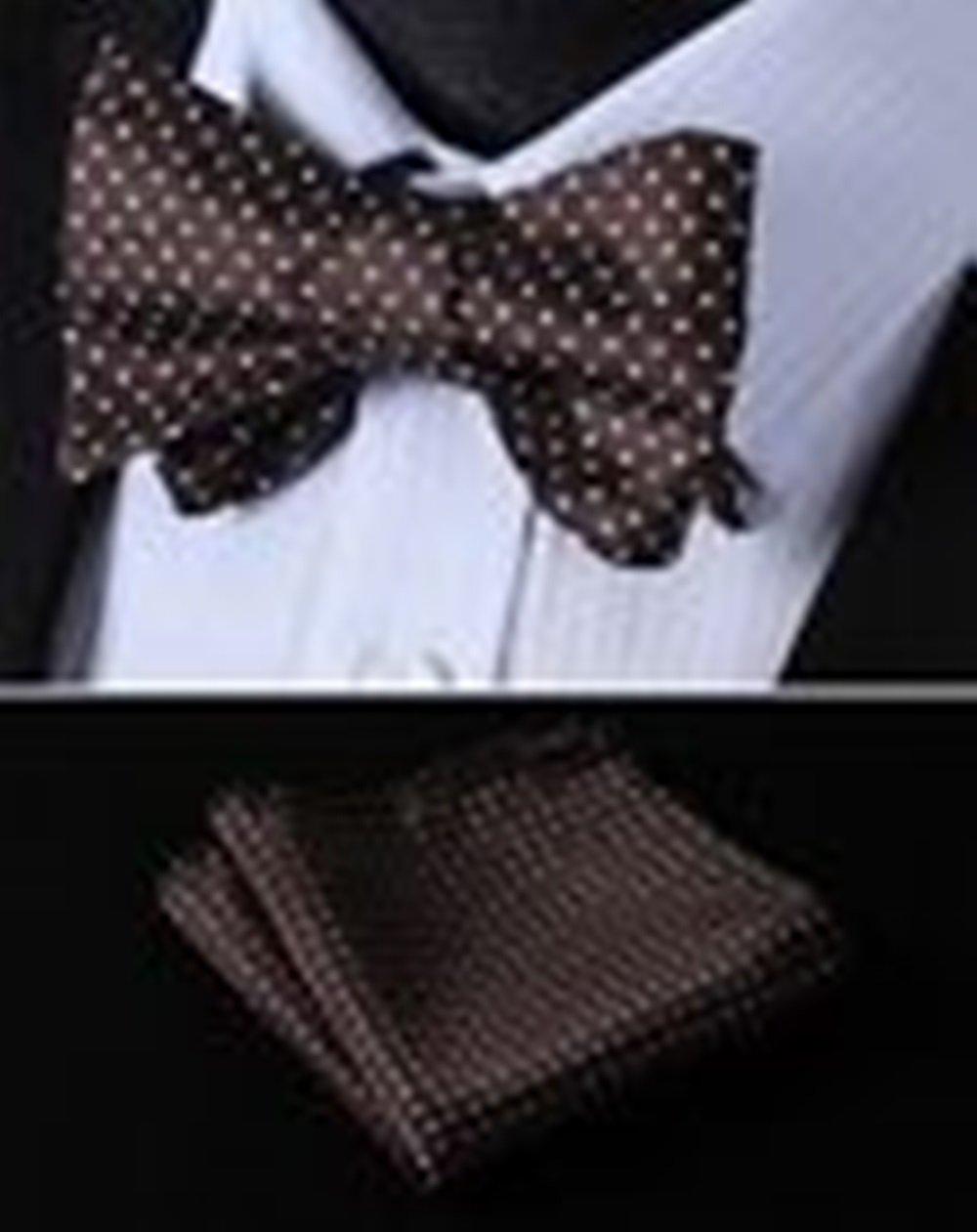 Mondaily DL601Z Brown Polka Dot Woven Men Silk Classic Self Bow Tie Pocket Square set #PPTE4546