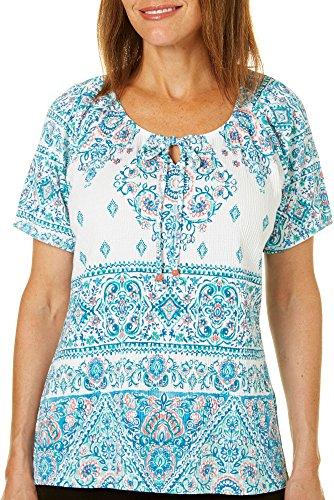 Coral Bay Womens Damask Print Tie Neck Gauze Top X-Large White (Print Gauze Top)