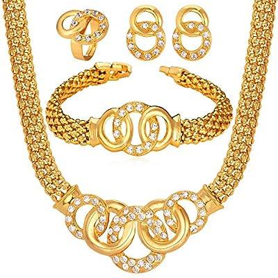 Women Jewelry Set 18K Gold Plated Diamond-accented Rhinestone Choker Collar Necklace Bracelet Earrings Set