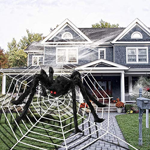 6.6FT Giant Spider Halloween Decorations with 16ft Huge Spider Web, 200sqft Stretchy Spider Cobweb and 20pcs Small Plastic Spiders for Halloween Creepy Decor Indoor, Outdoor, Party, Bedroom, Window , Wall, Yard