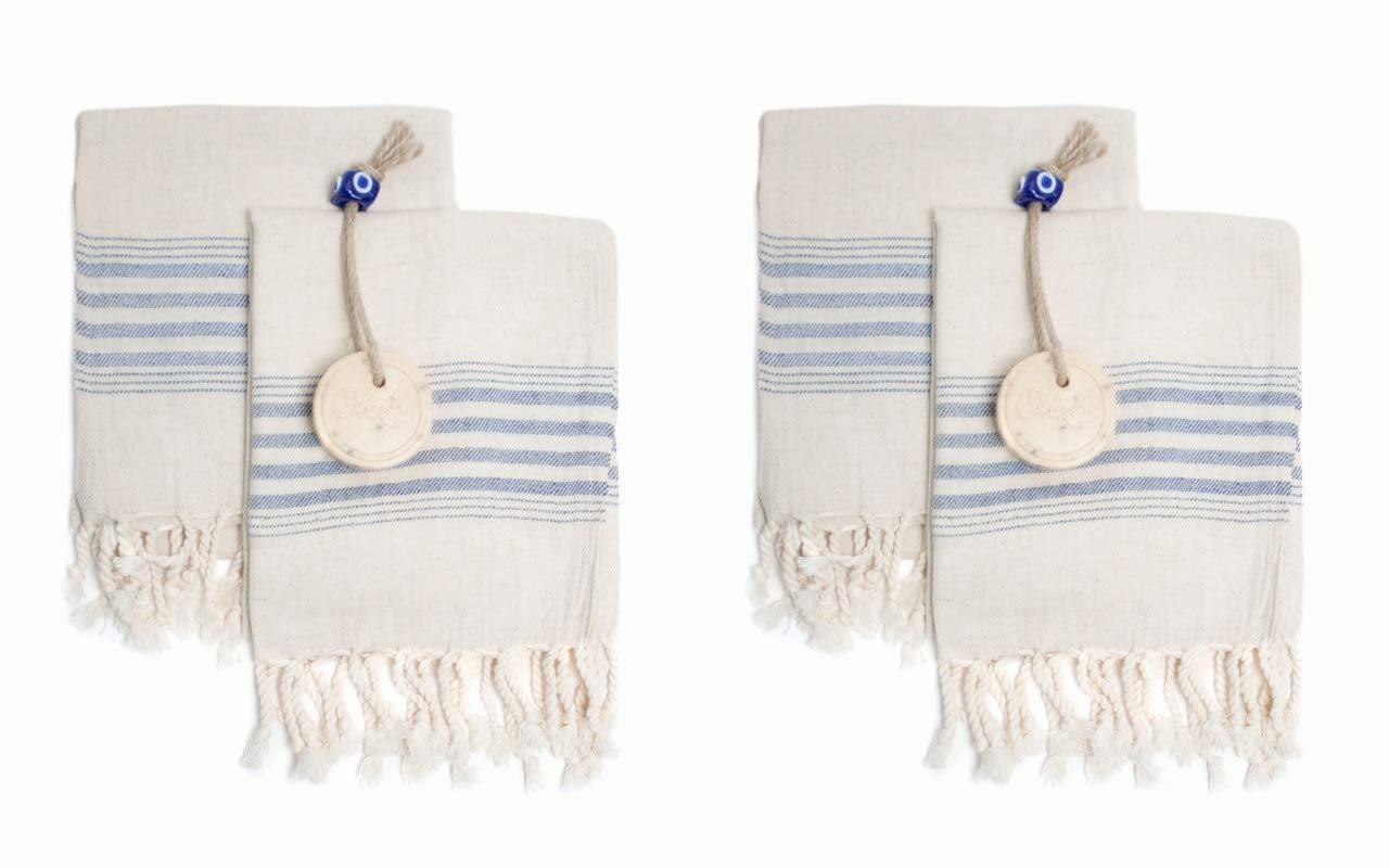 Set of 4 Linen Premium Quality Tea Towel Natural in Color and Eco-friendly Dish Towel, Hand-loomed Dishclothes, Cream Kitchen Towel Set, Hand Towel Set, (Blue) by Ahenque