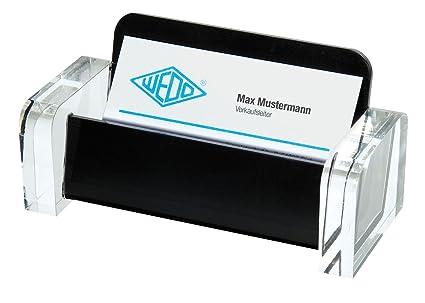 Wedo 0604401 Visitenkartenhalter Acryl Glasklar Schwarz Exclusiv