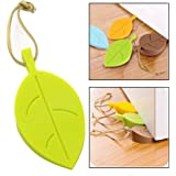 Topoint Silicone Door Stopper Wedge Finger Protector, 4 Pack Premium Cute Colorful Cartoon Leaf Style Flexible Silicone Window/Door Stops set with Lanyard for Home Garden Office