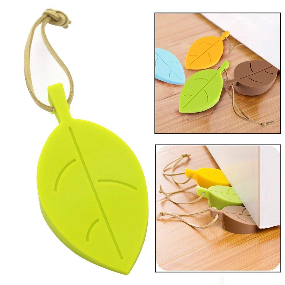 Topoint silicone door stopper wedge finger protector 4 pack premium cute colorful cartoon leaf style flexible silicone window door stops set with lanyard