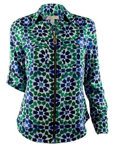 Michael Kors Women's Plus Dogtag Zip Camp Shirt Top-AS-S