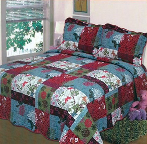 Fancy Collection 3pc Bedspread Bed Cover White blue green red floral print (Queen) (Bedspreads Christmas)