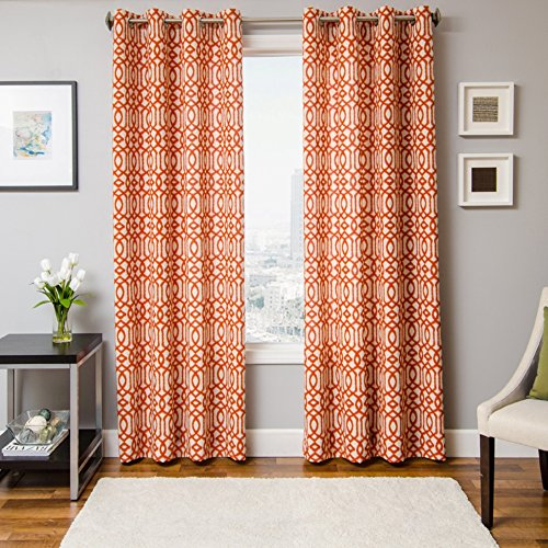 Softline Katie Series Window Panel / Treatment / Curtain / Drape Unlined with Traditional Ikat Pattern and Modern Metallic Grommet Top in Tangerine, Tangerine, 55