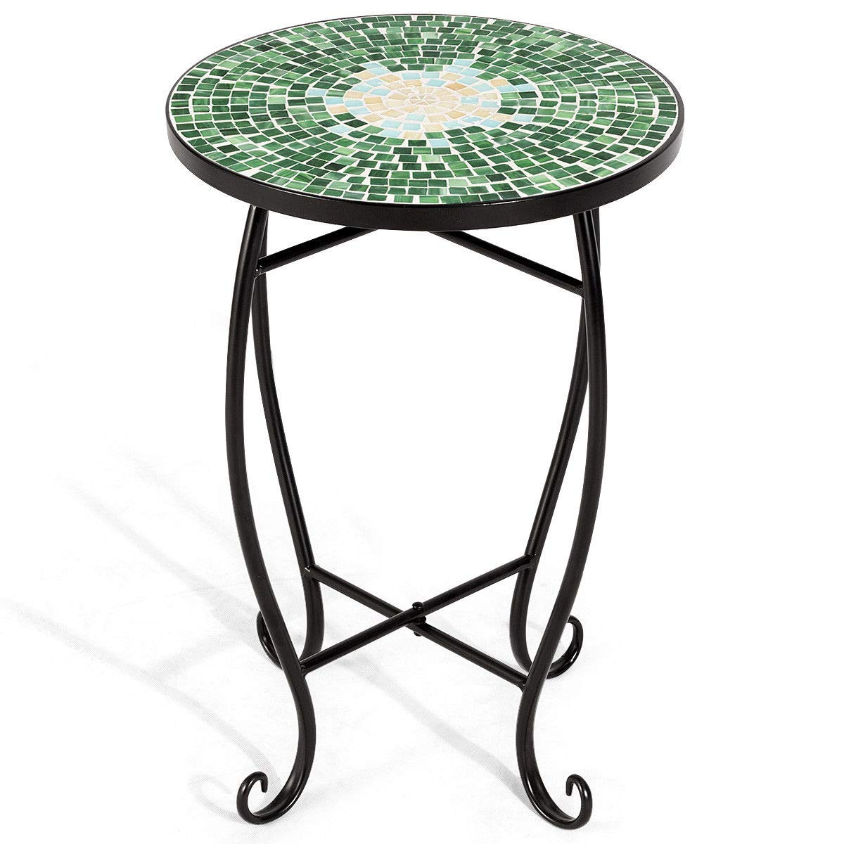 "NanaPluz 21"" H Green Round Plant Stand Steel Scheme Garden Decor Display Accent Table Curved Legs Mosaic Inlay Top with Ebook"