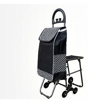 Fkdebag Carrito de Compras Carrito de Compras Trolley Escaleras de Escalada Plegable Supermercado portátil con Asiento de Carga 35 kg con 36L Verde Negro ...