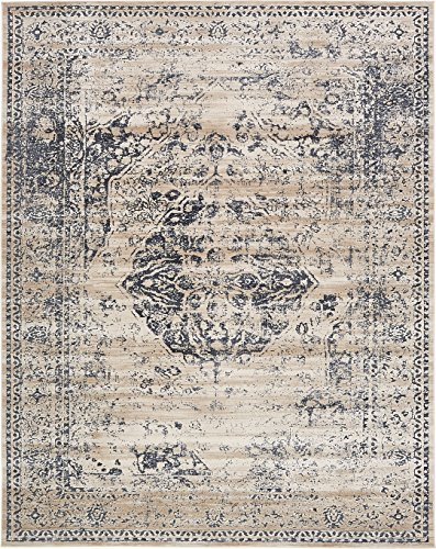 Texture Modern Carved Vintage Traditional Look & Feel Dark Blue 8′ x 10′ Ephesus Collection Area Rug For Sale