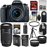 Canon EOS 77D Wi-Fi Digital SLR Camera & EF-S 18-55mm + 55-250mm IS STM Lens + 64GB Card + Backpack + Battery & Charger + Tripod + 2 Lens Kit