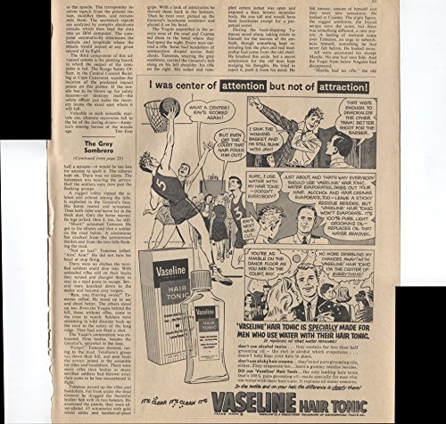 Vaseline Hair Tonic I Was The Center Of Attention But Not Of Attraction Made For Men Who Use Water With Their Hair Tonic Basketball 1961 Vintage Antique -