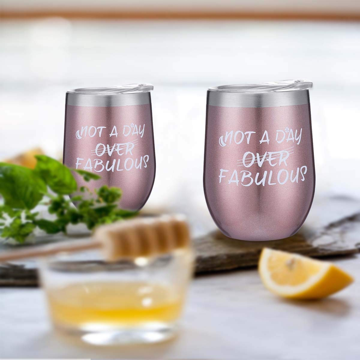 Stainless Steel Wine Tumbler Cupcake Wine Socks Gift Set 12 oz Double Insulated Stemless Wine Glasses with Lid and Sayings Not a Day Over Fabulous Birthday Gifts for Women Friends,Blue
