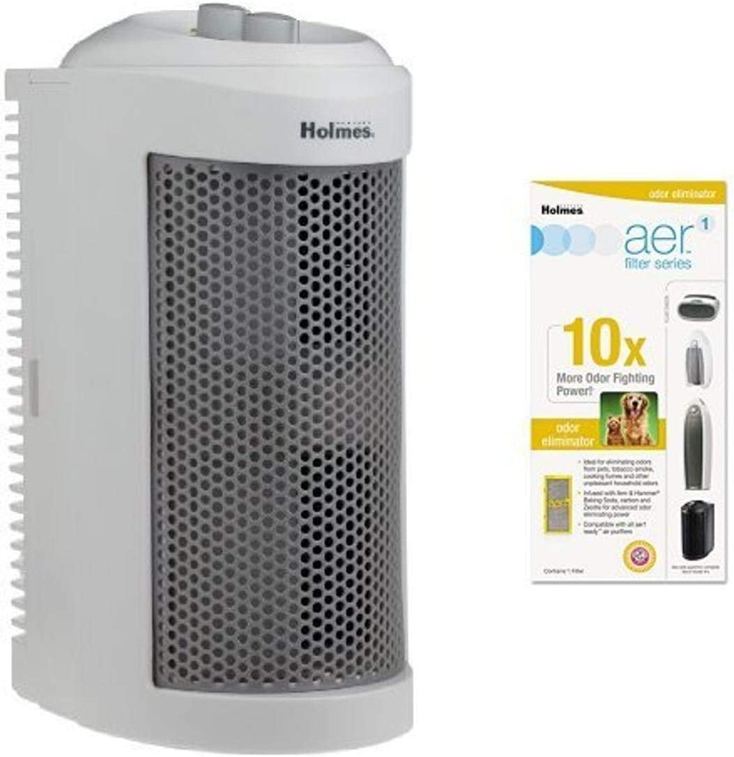 Holmes True HEPA Allergen Remover Mini Tower Air Purifier with Odor Eliminator Filter