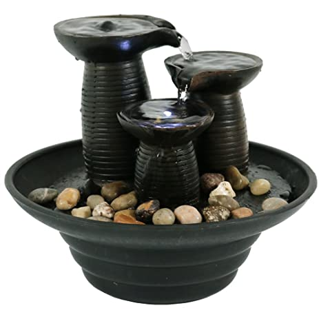 Delightful Sunnydaze Three Pillars Pouring Small Table Fountain With LED Light, 7.5  Inch