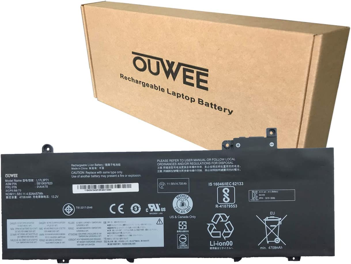 OUWEE L17L3P71 Laptop Battery Compatible with Lenovo ThinkPad T480S Series Notebook L17M3P71 01AV478 SB10K97620 01AV479 SB10K97621 L17M3P72 01AV480 SB10K97622 11.58V 57Wh 4920mAh