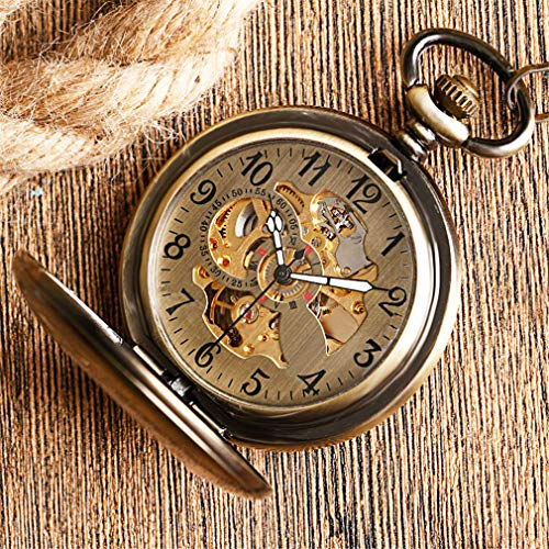 jklek Self Wind Pocket Watch Copper Bronze Pendant Smooth Retro Unisex Automatic Mechanical Thanksgiving Gift