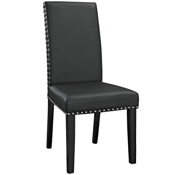 Nice Modway Parcel Modern Upholstered Vinyl Parsons Dining Chair With Polished  Nailhead Trim And Wood Legs In