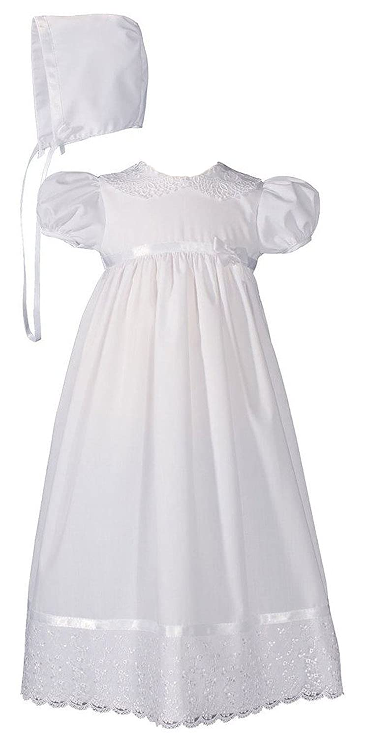 Girls Poly Cotton Christening Baptism Gown with Lace Collar and Hem