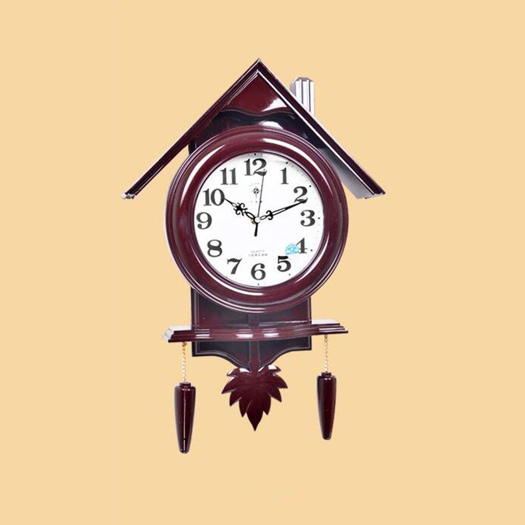 Wanduhren niedlich Cartoon Stumm Musik Zimmer Wohnzimmer Schlafzimmer Kinderzimmer Schaukel Quarzuhr ( Farbe : Rot )