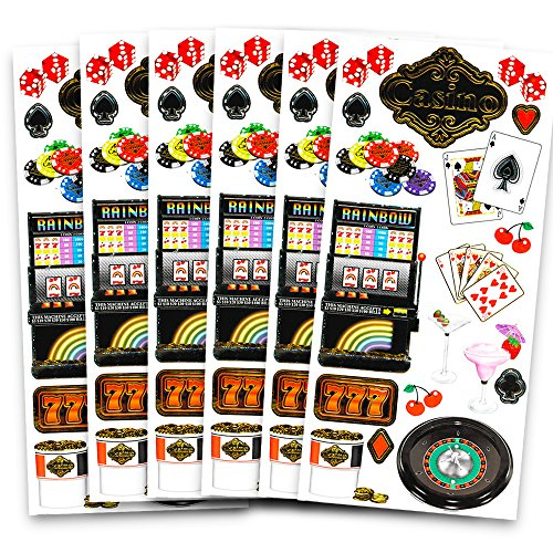 Casino Night Stickers Party Favors Pack -- Over 100 Deluxe Foil Casino Stickers (6 Sticker Sheets, Casino Party Supplies) -