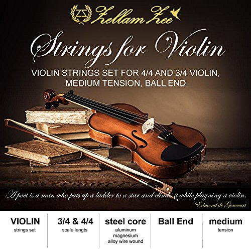 Violin strings set 3/4, 4/4, Full Set beginner violin strings with solid steel violin E String, Ball-End, Medium Gauge, [violin strings 3/4 and violin strings 4/4 is the same size]