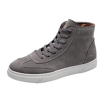 WWricotta Zapatillas Casual Hombres Botas de Media Caña Vintage Moda Cómodas Calzado Andar Zapatos Planos Bambas