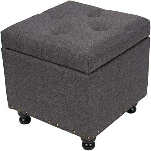 BELARDO home Storage Ottoman, Square Storage Chest Foot Rest Stool 17.3 Button Ottoman Cube with Hinged Lid and Solid Wood Legs Holds Up to 300lbs, Dark Grey Fbric