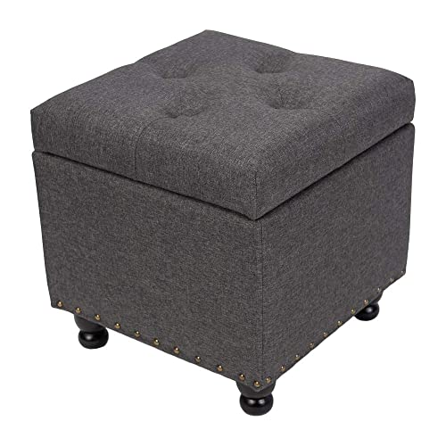 BELARDO home 17.3 Square Fabric Storage Ottoman, Living Room Coffee Table, Tufted Upholstered Book Box with Hinged Lid Footrest Stool, Dark Grey