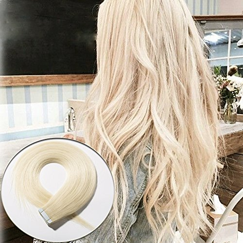 Price comparison product image 40pcs 80g/pack Tape In Human Hair Extensions 20 Inch Slilky Straight Seamless Skin Weft Remy Hair Platinum Blonde Color #60 +20pcs Spare Tapes