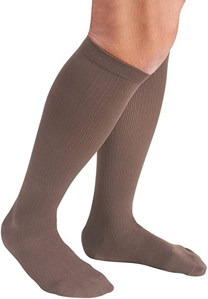 Men/'s Support Plus Firm Compression Support Brown Dress Socks