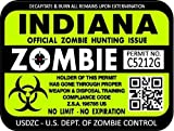 "ProSticker 1224 (TWO pack) 3""x 4"" Zombie Series ""Indiana"" Hunting License Permit Decal Sticker"
