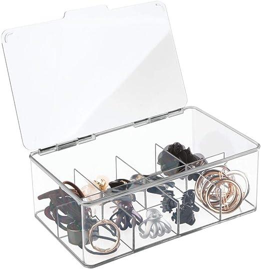 mDesign Organizador de plástico Multiuso Caja para medicamentos, botiquín o para organizar vitaminas o Suplementos - En Color Transparente: Amazon.es: Hogar