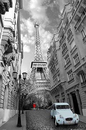 Paris Poster Robe Rouge Bleu Canard Accessoires U Poster Der