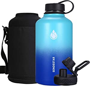SENDESTAR 64 oz Beer Growler Double Wall Vacuum Insulated Leak Proof Stainless Steel Water Bottle —Wide Mouth with Flat Cap & Spout Lid Includes Water bottle Pouch (Mint/Cobalt)