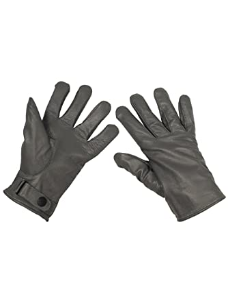 ad625c37c24a9 German Army Leather Gloves Grey - Black - Large: Amazon.co.uk: Clothing