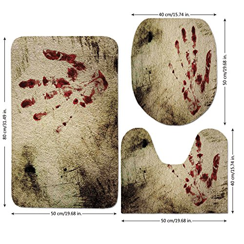 3 Piece Bathroom Mat Set,Horror-House-Decor,Grunge-Dirty-Wall-with-Bloody-Hand-Print-Murky-Palm-Trace-Victim-Violence,Red-Beige.jpg,Bath Mat,Bathroom Carpet Rug,Non-Slip