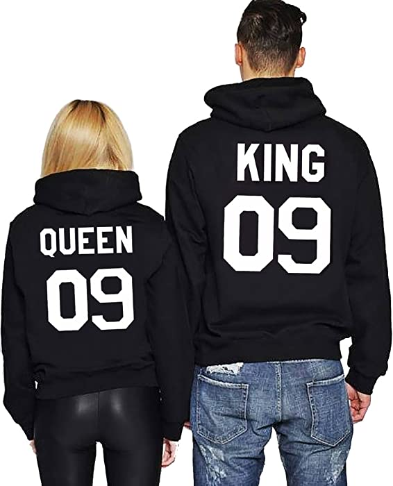 JWBBU -Sudadera Mujer King-Schwarz+Queen-Schwarz Rey-Large+Reina