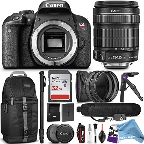 Canon EOS Rebel T7i DSLR Camera with 18-135mm Lens w/Advanced Photo and Travel Bundle + DigitalAndMore FREE Accessories