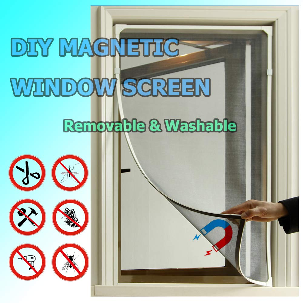 Adjustable DIY Magnetic Window Screen fit Windows Up to 55X50 Inch Removable & Washable