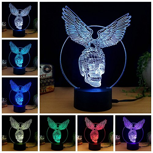 3D Illusion Halloween Lamp Night Light Skull with Wings 7 Colors Glows with Smart Touch Switch USB Cable(White)