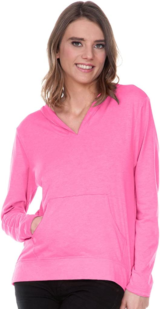 Women Sheer Jersey Raw Edge High Low Long Sleeve Hoodie with Pouch Kavio