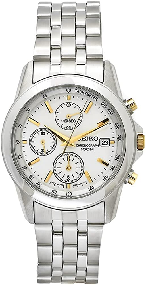 Seiko Men s SNDC11P1 Chronograph Silver Dial Stainless Steel Watch