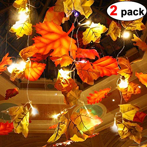 (2 Pack Maple Leaves Garland String Lights 40 LED Lights 20ft Waterproof Fall Decoration Seasonal Lights for Holiday Party Indoor Outdoor Decor Birthday Gift 3AA Battery Operated)