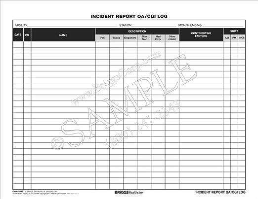 amazon com: briggs healthcare incident report qa/cqi log - 100 per pad:  health & personal care