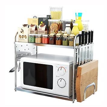 Estantes y soportes para ollas y sartenes HWF 2-Tier Countertop Horno Microondas Estante Cocina Spice Racks Organizador Almacenamiento Multifunción Worktop ...